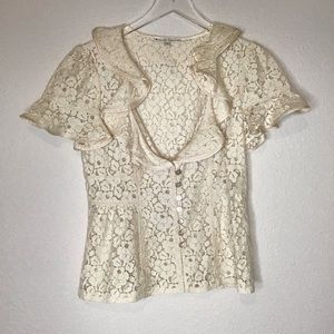 Nanette Lepore Cream Lace Peplem Top Sz 4